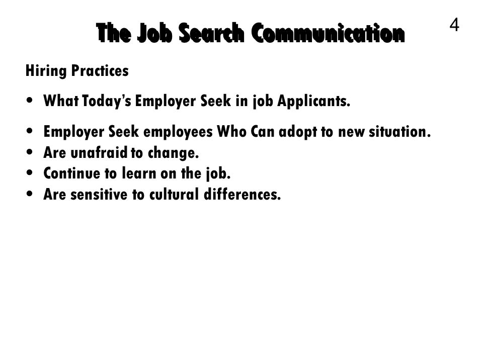 Business Communication 1 The Job Search Communication 2 Planning - resume search