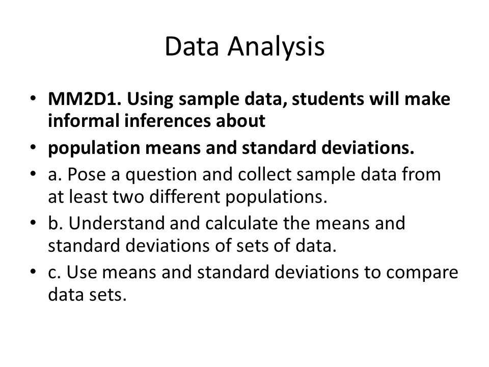 Data Analysis Student Text Chapter 7 Data Analysis MM2D1 Using