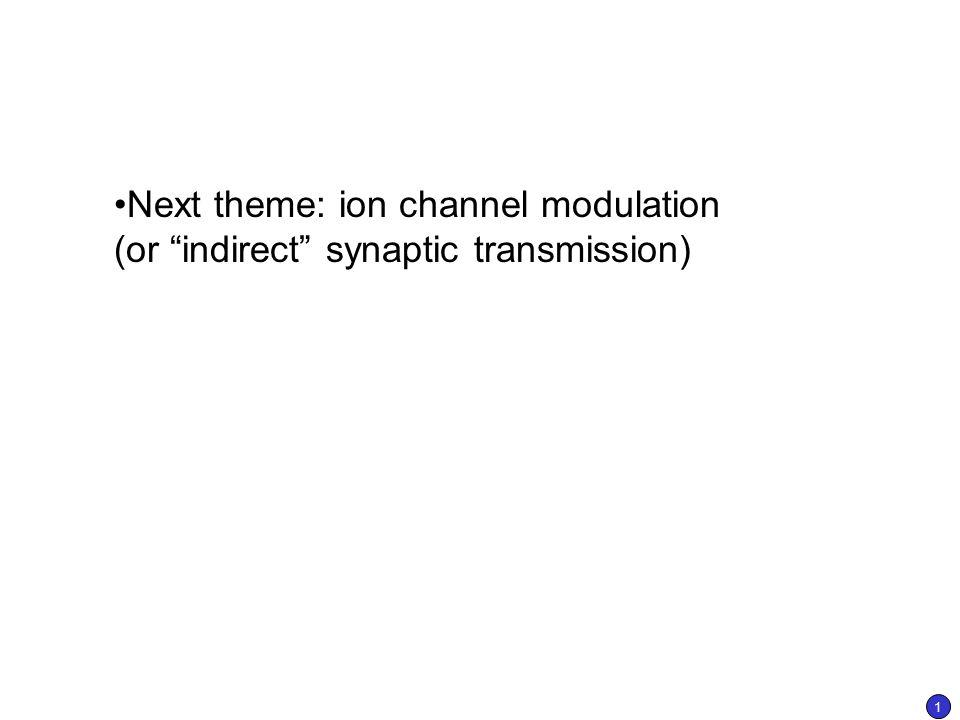 Next theme ion channel modulation (or \u201cindirect\u201d synaptic