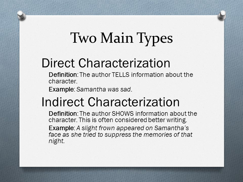 Characterization Two Main Types Direct Characterization Definition