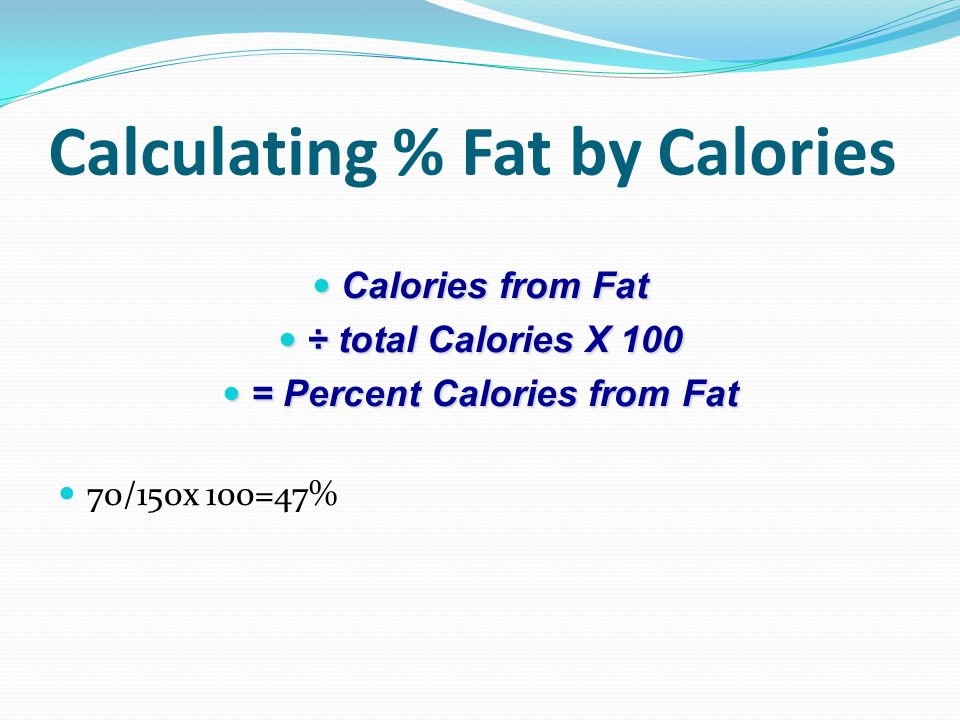 percentage of calories from fat calculator - Gottayotti - how to calculate the percentage of calories from fat