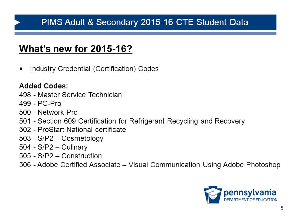 PIMS Adult  Secondary Career and Technical Education (CTE) Student
