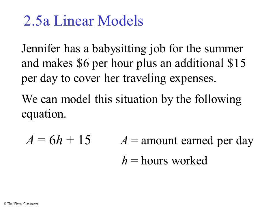 The Visual Classroom 25a Linear Models Jennifer has a babysitting