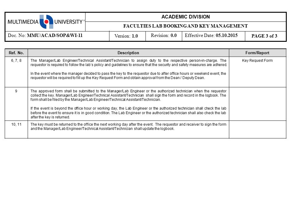2 Submit laboratory booking form Requestor (external/internal