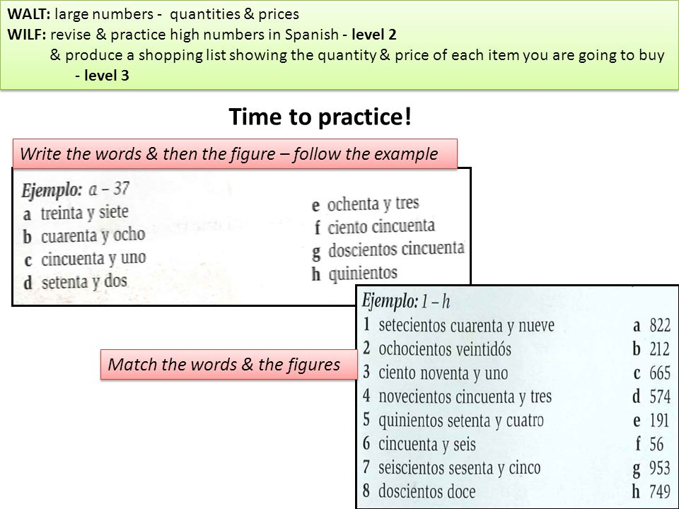 WALT large numbers \u2013 quantities and prices WILF revise  practice - shopping list and prices