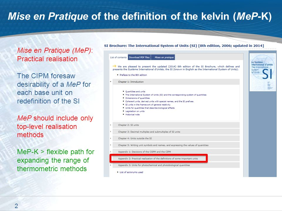 1 The Mise an Pratique of the definition of the kelvin (MeP-K) 2 nd