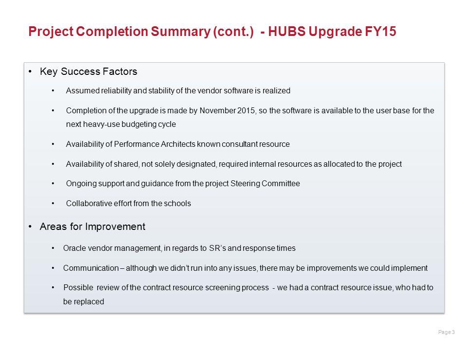 Project Completion Report HUBS Upgrade FY16 April 20, ppt download