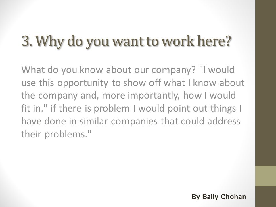 The most common interview question\u0027s By Bally Chohan Job Portal - why do i want this job