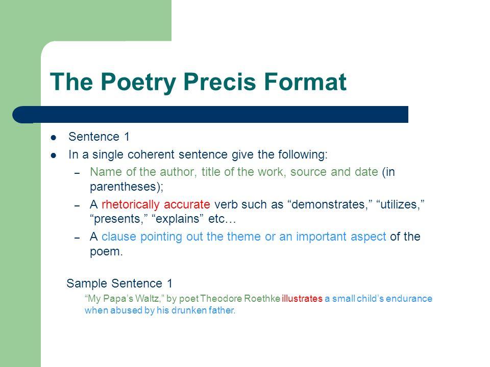 Writing the Poetry Precis The Rhetorical Precis The precis is a - rhetorical precis template