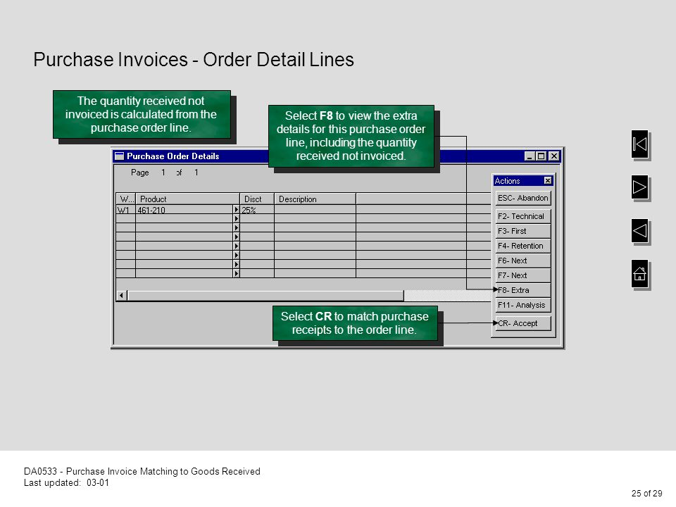 1 of 29 DA Purchase Invoice Matching to Goods Received Last updated