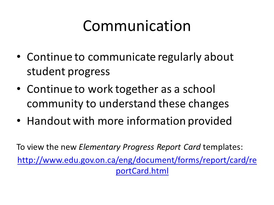 Keeping You Informed About Changes to the Elementary Progress Report - progress report card template