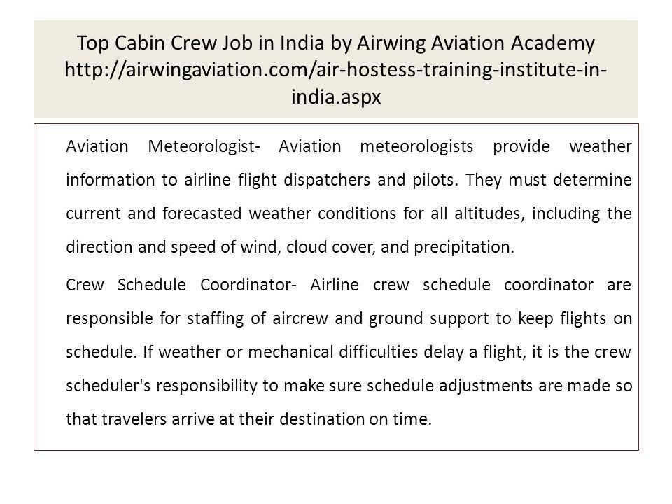 Top Cabin Crew Job in India by Airwing Aviation Academy indiaaspx - scheduling coordinator job description