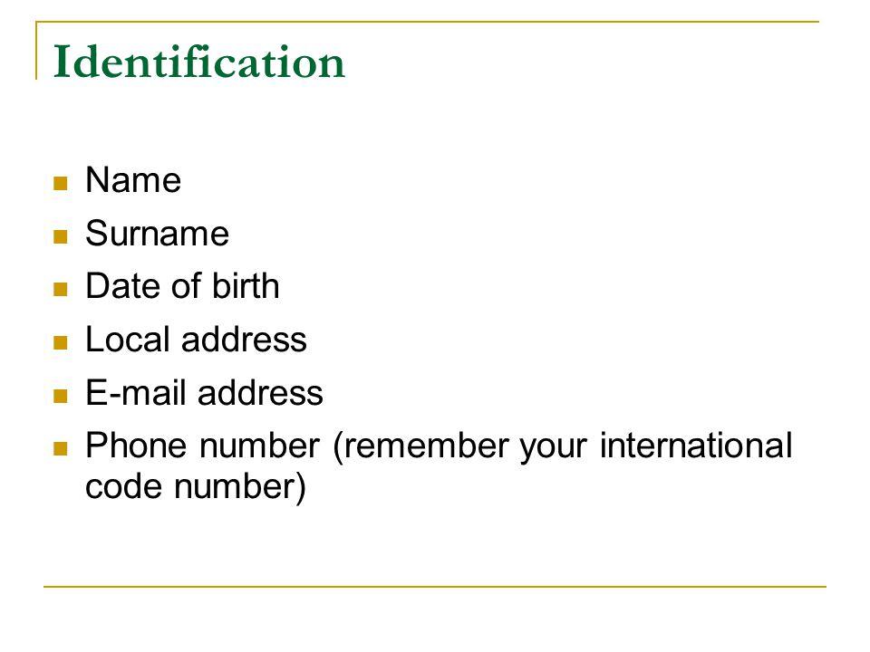 CV WRITING -BASICS- Cv Name Address Tel PARTS OF A CV