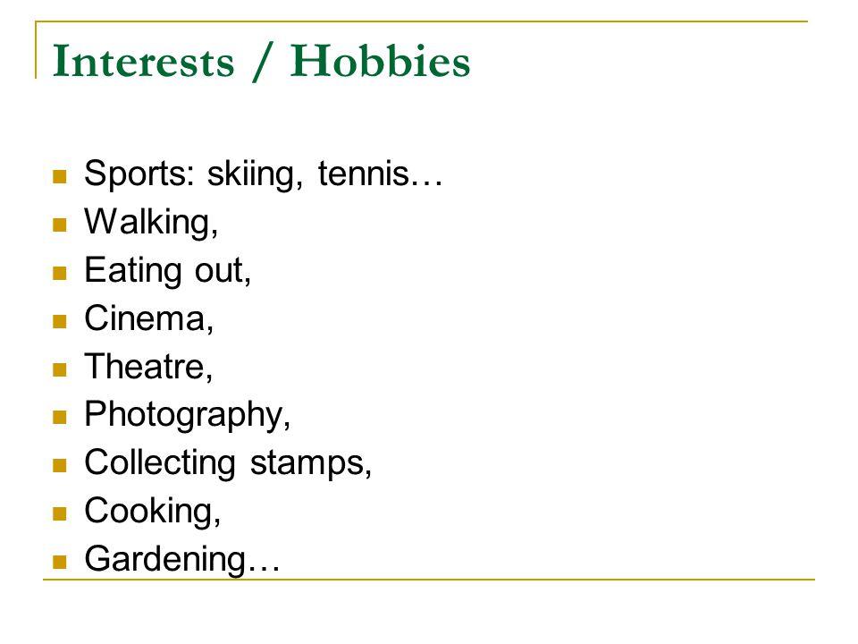 Cv writing personal interests