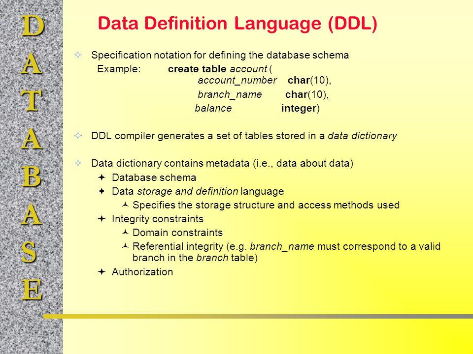 Data Definition Language \u2013 jugendbr