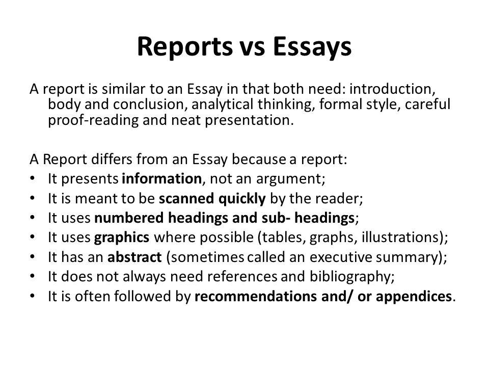 essay vs report - Romeolandinez - report format essay