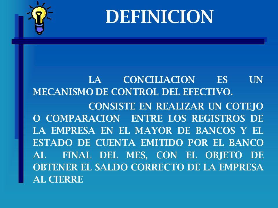 LA CONCILIACION BANCARIA DEFINICION LA CONCILIACION ES UN MECANISMO