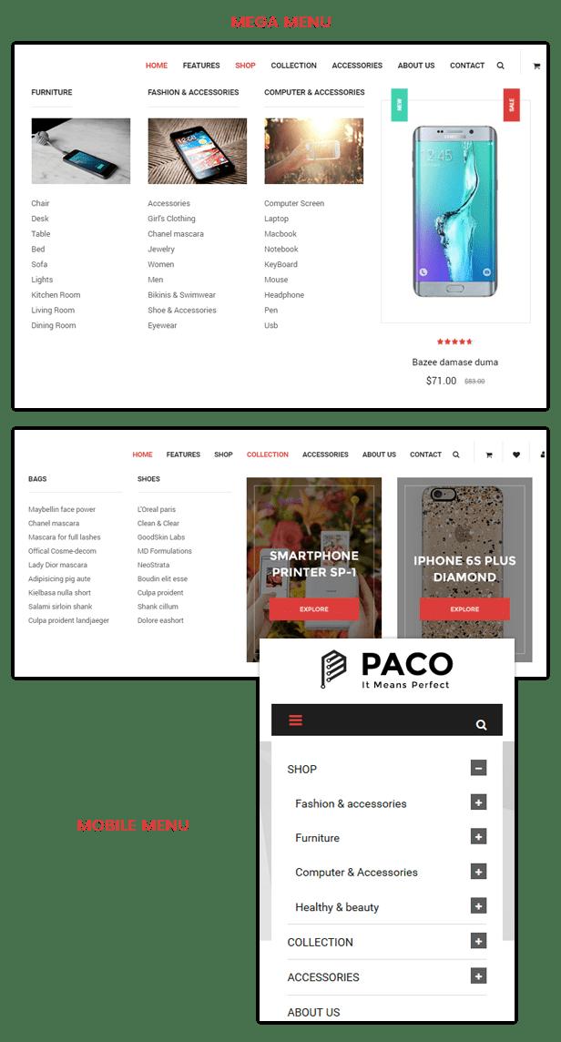 SM Paco - Menu styles