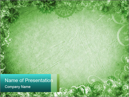 Decorative Green Frame Border PowerPoint Template, Backgrounds