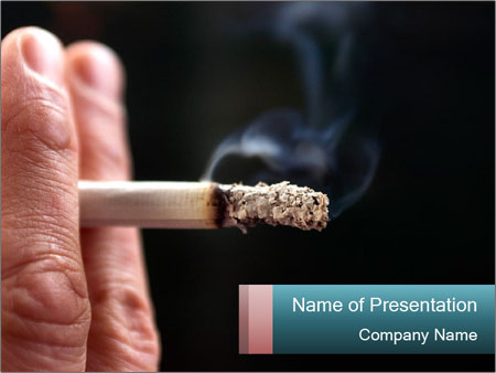 Burning Cigarette PowerPoint Template, Backgrounds  Google Slides