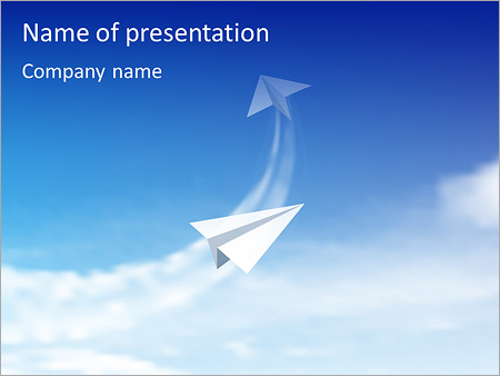 Paper Plane In Sky PowerPoint Template, Backgrounds  Google Slides