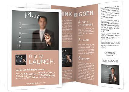 Business man writing business plan Brochure Template  Design ID