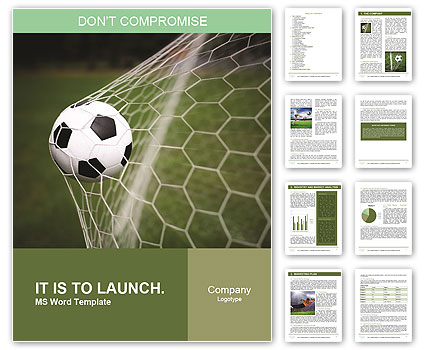 Soccer ball in the net, the goal Word Template  Design ID