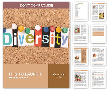 The word Diversity in cut out magazine letters pinned to a cork
