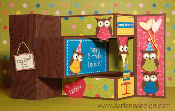 Tri-Fold Shutter Owl Party Card (inside) by darlenedesign - at - Tri Fold Card