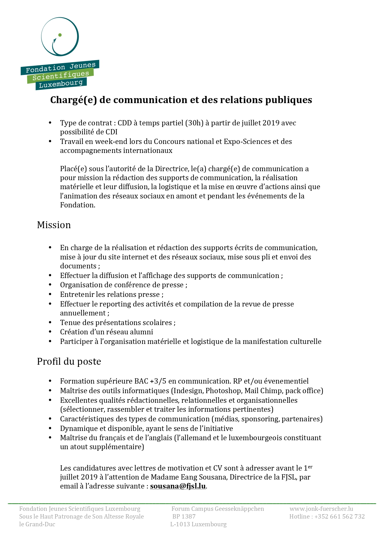 Maitrise Pack Office News Fondation Jeunes Scientifiques Luxembourg