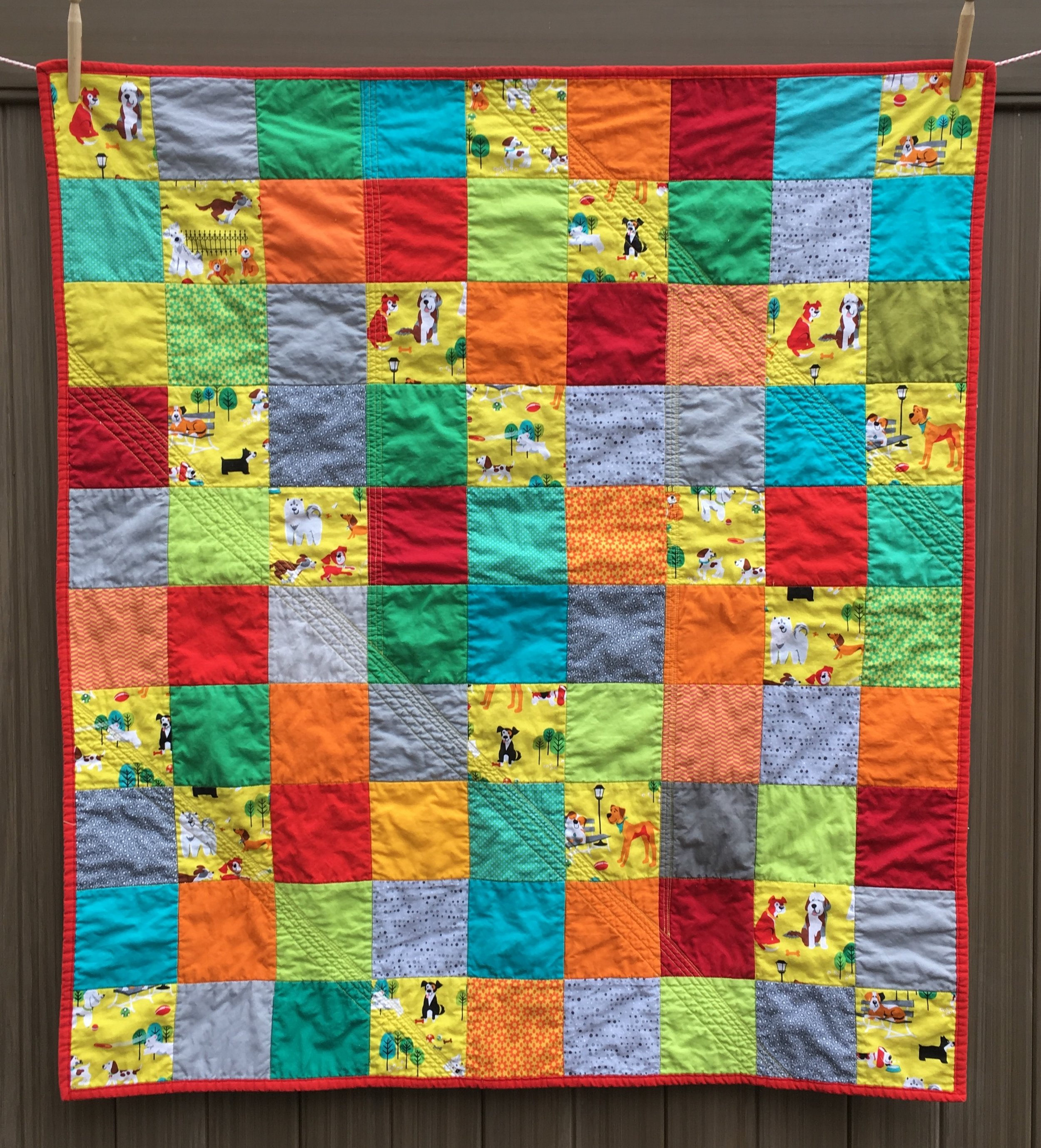 Baby Quilts.com Charm Square Baby Quilt With Dogs And Bright Colors