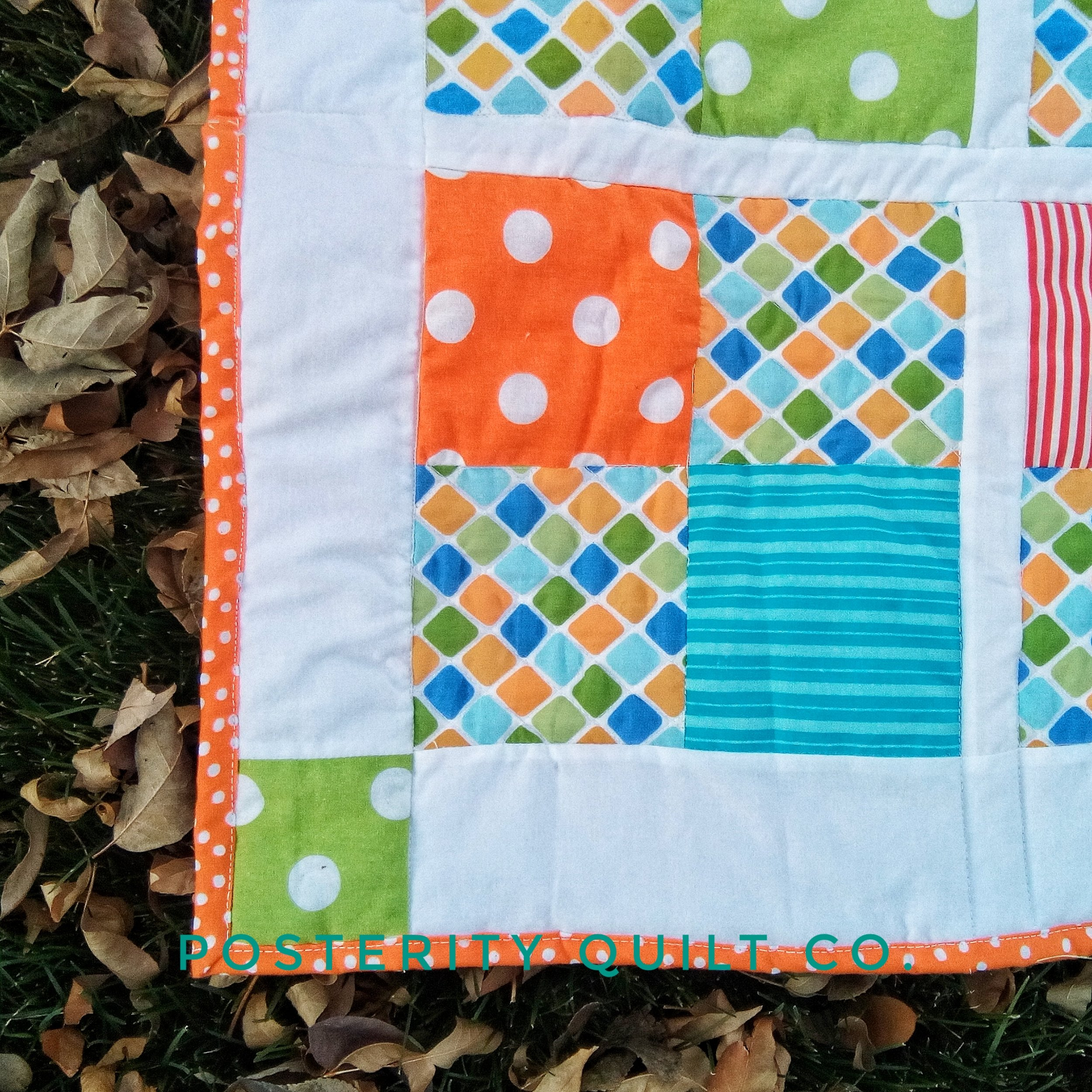 Baby Quilts.com Mr A S Baby Quilt Orange 4 Patch Posterity Quilt Company