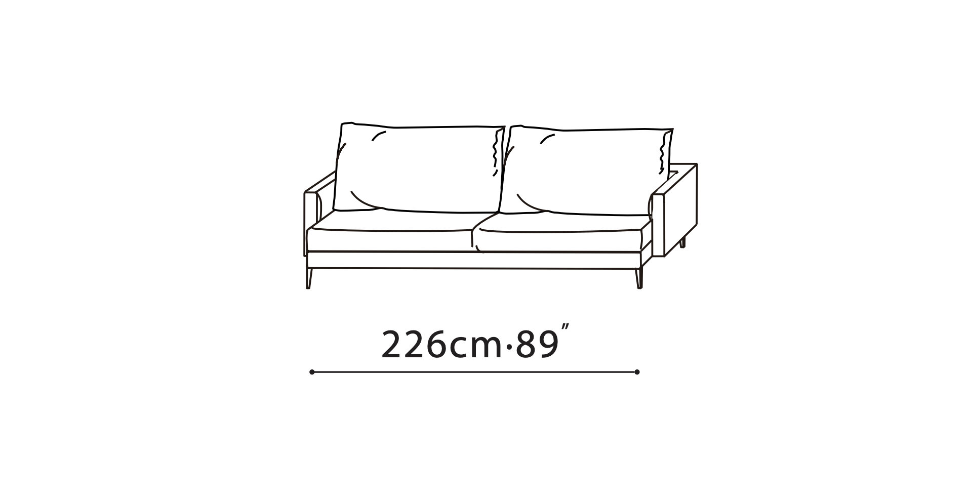 Notting Straight Sofa 3 Sizes Fabric M Collection Home