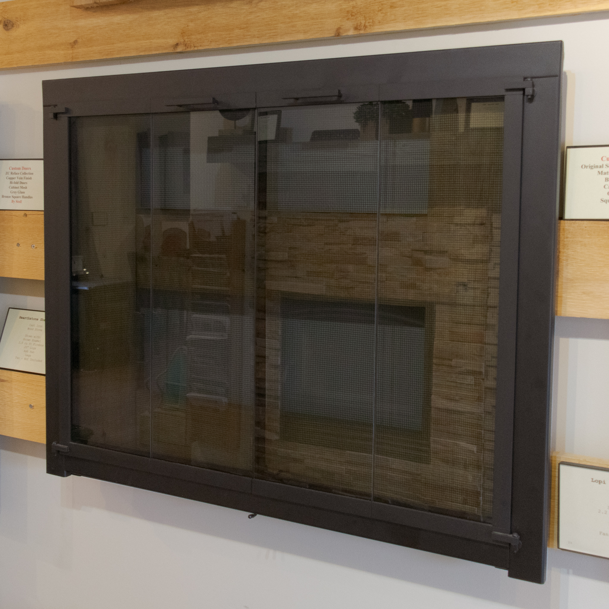 Custom Glass Fireplace Doors In Our Showroom Firepits Fireplace Doors