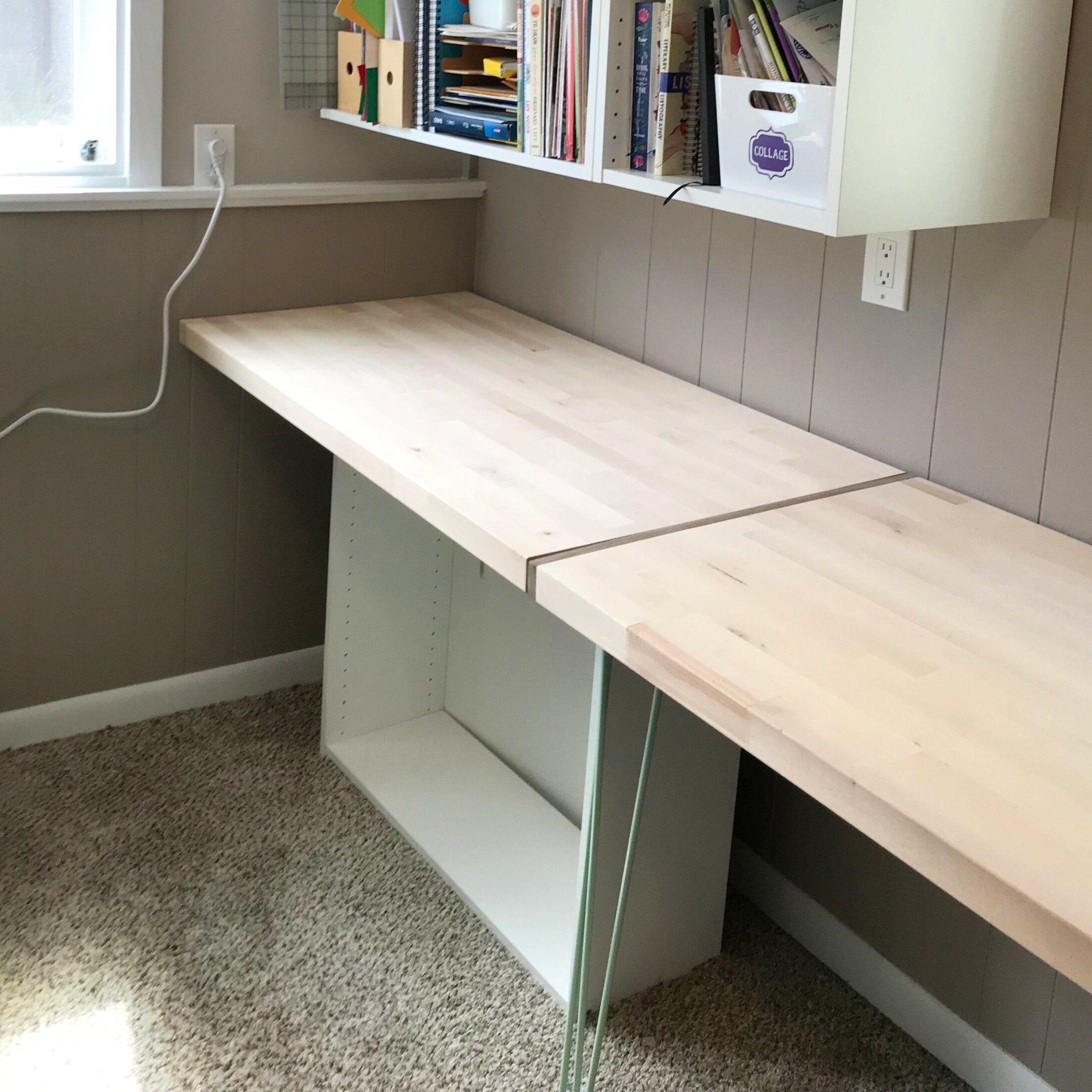 Diy Desk From A Countertop Mid Modern Mama