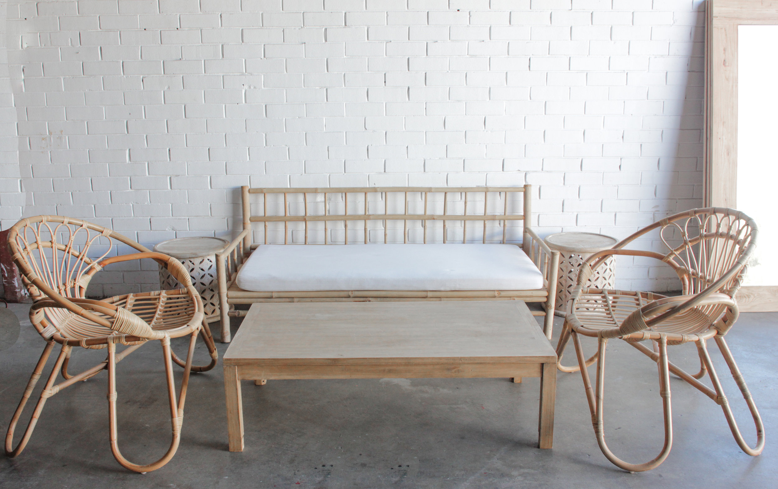 Basic Bamboo Lounge Setting Package Pretty Willow Prop Hire Perth