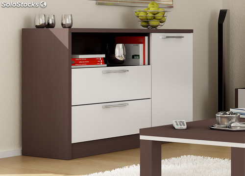 Mueble Entrada Segunda Mano Armario Aparador Buffet Color Wengue Y Blanco De Salon