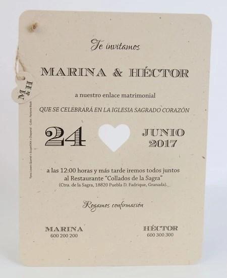Invitación de boda papel kraft Impresión GRATIS - invitaciones de boda gratis