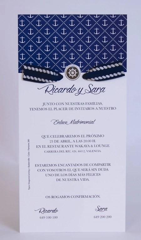 Invitaciones de boda marineraImpresión gratis al por mayor
