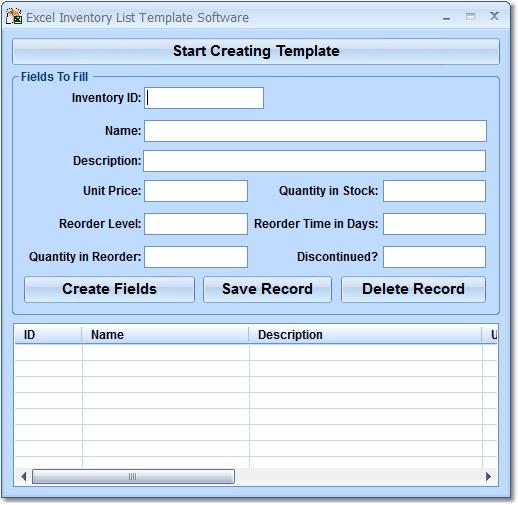 Excel Inventory List Template Software - standaloneinstaller