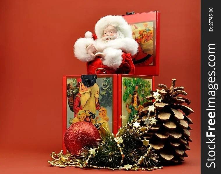 Vintage Christmas Santa Jack In The Box Decoration - Free Stock