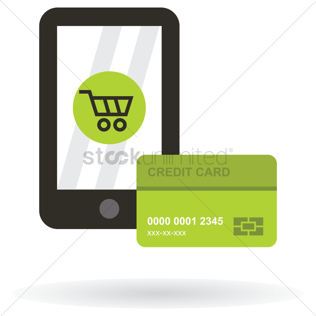 Stores Credit Card Mobile Phone With Shopping Cart Icon And A Credit Card
