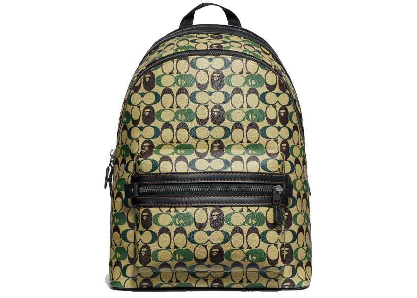 Coach X Bape Academy Backpack Signature Canvas With Ape Head Black Copper Camo Multi In Coated Canvas With Gold Tone