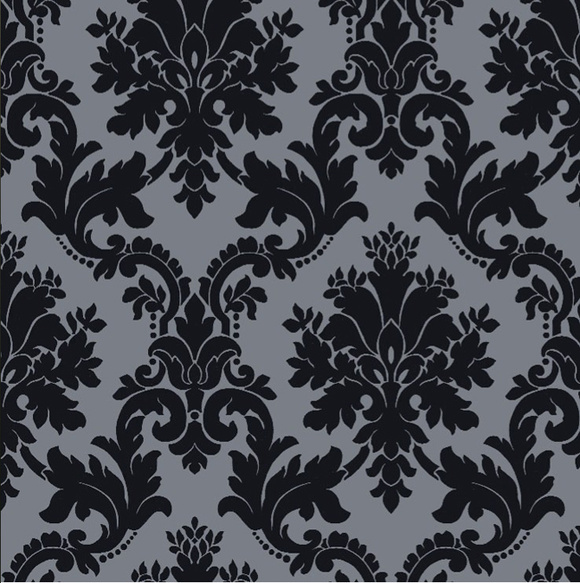 Black And Silver Floral Wallpaper Tapet Med Quot Plysch Quot Diskutera Efterlysningar Ny P 229