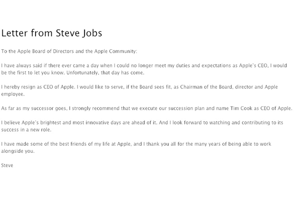 Steve Jobs\u0027s resignation letter Macworld