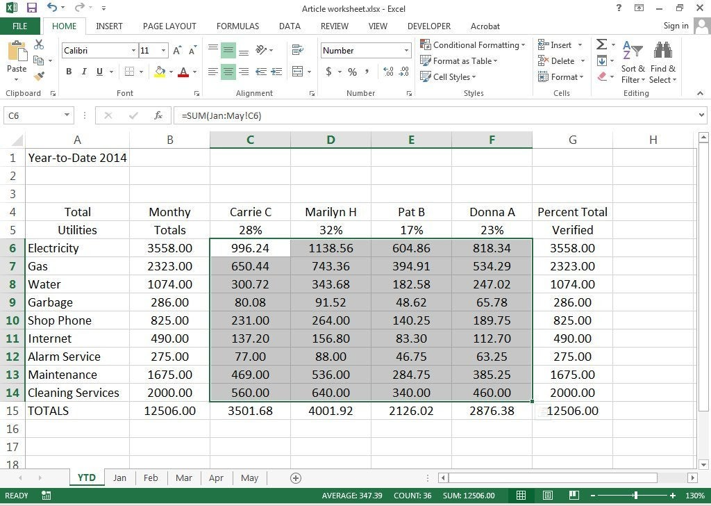 How to create 3D Worksheets in Excel 2013 PCWorld - creating formulas in excel