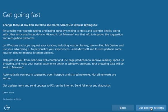 Windows 10 upgrade Express Settings How to customize them for