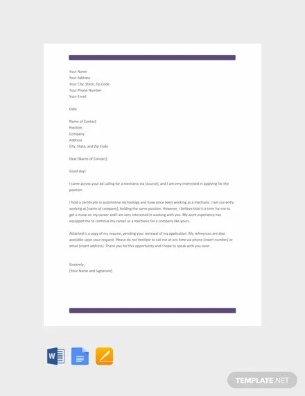 FREE Mechanic Resume Cover Letter Template Download 2068+ Letters