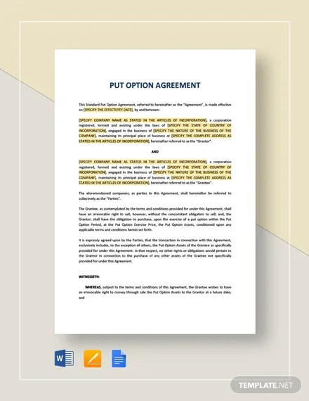 Put Option Agreement Template Download 130+ Templates in Microsoft