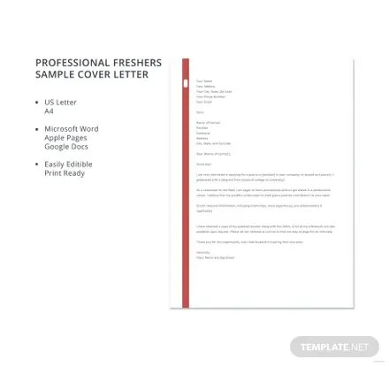 Free Professional Freshers Sample Cover Letter Template in Microsoft